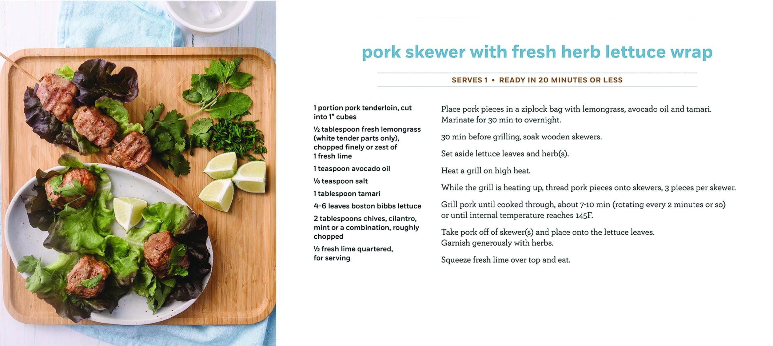 Pork Skewer Lettuce Wrap